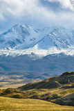 Altai mountains in Kurai area with North Chuisky Ridge on backgr Royalty Free Stock Photo