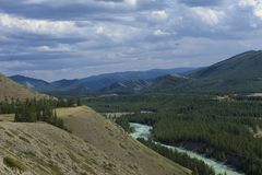 Altai mountains. River Argut. Beautiful highland landscape. Russ Royalty Free Stock Images