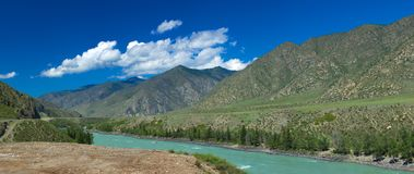 Altai mountains. River Katun. Beautiful highland landscape. Russia. Siberia royalty free stock photo