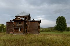 Abandoned tourist complex `Eldorado` at the mouth of the river Inya Altai Territory. ALTAI REGION, RUSSIA - SEPTEMBER 3, 2018: Abandoned tourist complex ` royalty free stock photography