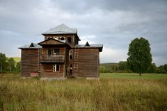 Abandoned tourist complex `Eldorado` at the mouth of the river Inya Altai Territory. ALTAI REGION, RUSSIA - SEPTEMBER 3, 2018: Abandoned tourist complex ` stock photo