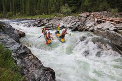 xtreme rafting on the Bashkaus River, extreme sport royalty free stock images