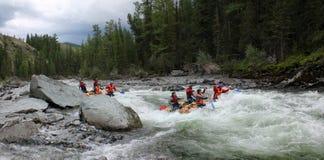 Extreme rafting on the Bashkaus River, extreme sport stock image