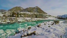 Altai River Katun winter ice stock video footage