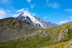 Russia, Republic of Altai. Very beautiful pictures of nature in Altai High snow-capped mountains, fast, noisy mountain rivers, bea Royalty Free Stock Photos