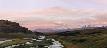 Altai, Ukok plateau. Beautiful sunset with mountains in the background. Snowy peaks autumn. Journey through Russia, Altay.  royalty free stock images