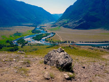 Altaic river and mountains. Summer, Altaic river and mountains Royalty Free Stock Image