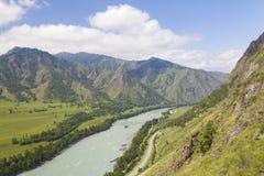 altaidagar sist bergsommar flod russia siberia för altaikatunregion royaltyfri fotografi
