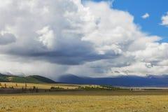 altaidagar sist bergsommar Härlig höglands- liggande Ryssland Sibirien Arkivbild