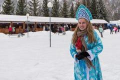 Altaiskaya zimovka假日-第一天冬天 免版税图库摄影