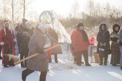 Altaiskaya zimovka wakacje - pierwszy dzień zima zdjęcie stock