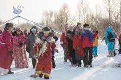 Altaiskaya zimovka wakacje - pierwszy dzień zima zdjęcia stock