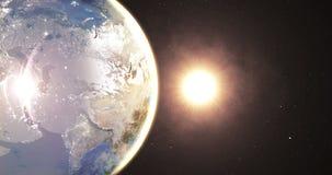 Altamente detalhado 3d rendem usando a NASA das imagens via satélite Zona de Europa da terra do planeta com noite e nascer do sol filme
