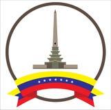 Altamiras iconic symbol för obeliskstad i Caracas med sju stjärnaVenezuela flagga royaltyfri illustrationer