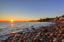 Altamount Beach Park (West Vancouver, British Columbia, Canada) at sunset Stock Image