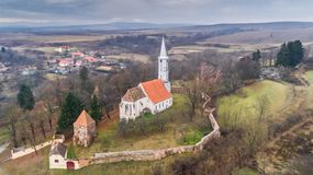 Altana fortified church in Transylvania, Romania. Aerial view of Altana fortified church in Transylvania, Romania Royalty Free Stock Photo