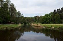 Altana na rzece blisko lasu A miejsca dla turystów relaksować Obraz Royalty Free