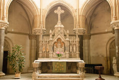 Altar. The altar before morning service is lighted up by sun light Royalty Free Stock Image