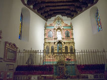 Altar in adobe Church in the City of Santa Fe In New Mexico Royalty Free Stock Photography