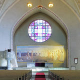 Altar and altarpiece in the Tampere Cathedral, Finland. Altar and altarpiece Resurrection by Magnus Enckell in the Tampere Cathedral, Finland Stock Photo
