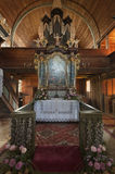 Altar in articular church in Hronsek stock photography