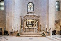 Altar of the Basilica of San Nicola in Bari. The altar of the Catholic Basilica of San Nicola in Bari Stock Photography