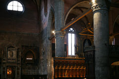 Altar in Basilica Santa Maria Gloriosa dei Frari. VENICE, ITALY - OCTOBER 13, 2016: altar in Basilica Santa Maria Gloriosa dei Frari, Venice. Frari is one of the royalty free stock photo
