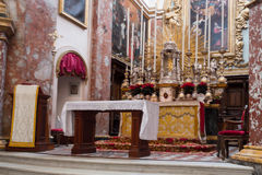 Altar of Carmelite Priory and Church, Mdina Stock Photos