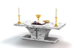 Altar. Catholic altar with candles in gold holders, gold chalice and plate, and open Book Royalty Free Stock Photo