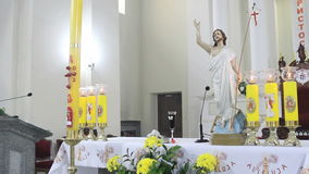 Altar in Catholic Church on Easter Sunday stock video