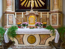 Altar in a Catholic church Royalty Free Stock Image