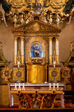 Altar in catolic temple of Prague Stock Images