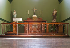 Altar in chapel. Wooden altar in green chapel. Pearce Museum in Dublin Stock Image