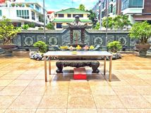 Altar in Chinese temple courtyard Royalty Free Stock Photos