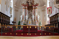 Altar and choir stalls of Castle Zeil church. The altar with renaissance choir stalls of the abbey church St Maria of castle Zeil, Allgäu, Germany - protected Royalty Free Stock Images
