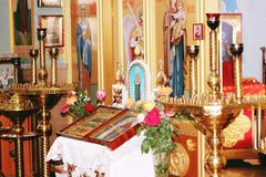 The Altar in the Church Stock Images