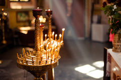 Altar church bible candles crown cross icon Royalty Free Stock Photo