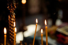 Altar church bible candles crown cross icon Royalty Free Stock Image
