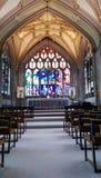 Altar church. Colourful church windows Stock Photos