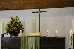 Altar. In a church cross Royalty Free Stock Images