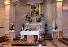Altar in the church of the first miracle. Cana of Galilee, Israel stock photos