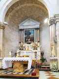 Altar in the church of the first miracle, Kefar Cana Stock Photos