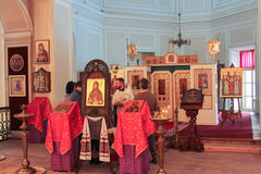 Altar of the Church of the Gatchina Palace. Visit the Gatchina Palace as part of a cultural forum in St. Petersburg Stock Photos