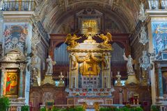 Altar of church. Rome, Italy. ROME, ITALY - NOV 01, 2016: Altar in the Church of Santa Maria in Aracoeli in Rome, Italy. It is designated Church of the city Stock Images