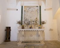 Altar, Church of San Nicola from Myra, Locorotondo, Italy. Pictured is view of the altar of the church of San Nicola Saint Nicholas from Myra in Locorotondo Stock Photography