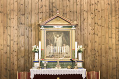 Altar Church Sisimiut, Greenland. Wooden interior with altar picture of small Sisimiut Church, Greenland Stock Photos