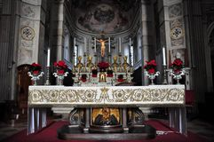 Altar of the Church of St. Peter the Apostle in Mantua. The St. Peter`s Apostle cathedral is the main place of worship in the city of Mantua, the mother church royalty free stock photos