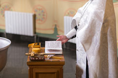Altar close-up. Interior Of Orthodox Church In Easter. baby christening. Ceremony a in Christian . bathing the into the Royalty Free Stock Photography