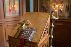 Altar close-up. Interior Of Orthodox Church In Easter. baby christening. Ceremony a in Christian . bathing the into the Royalty Free Stock Image