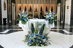 Altar in a contemporary church, Andorra Royalty Free Stock Photography